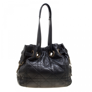 Dior Black Cannage Leather Bucket Shoulder Bag