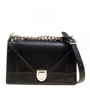 Dior Black Leather Small Diorama Shoulder Bag