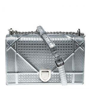 Dior Silver Patent Leather Medium Diorama Flap Shoulder Bag