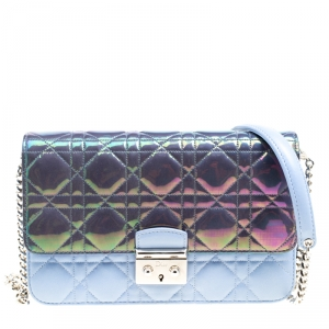 Dior City Metallic Blue/Sky Blue Cannage Leather Miss Dior Promenade Shoulder Bag