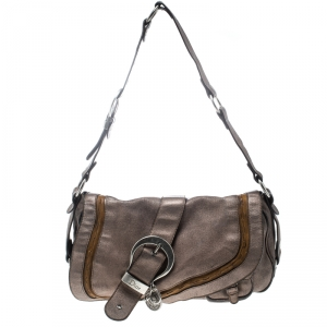 Dior Metallic Khaki Leather Gaucho Saddle Bag