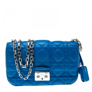 Dior Blue Cannage Leather New Lock Shoulder Bag