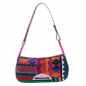 Dior Multicolor Embroidered Beads and Denim Limited Edition 167/200 Shoulder Bag