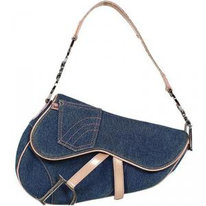 Dior Two Tone Denim and Leather Saddle Bag