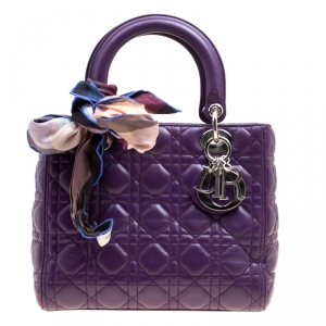 Dior Purple Leather Medium Lady Dior Top Handle Shoulder Bag