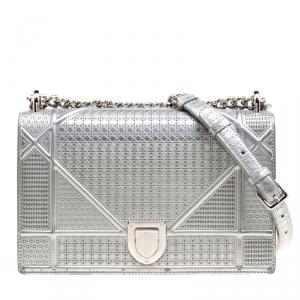 Dior Silver Patent Leather Medium Diorama Shoulder Bag