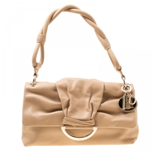 Dior Brown Leather Demi Lune Flap Bag