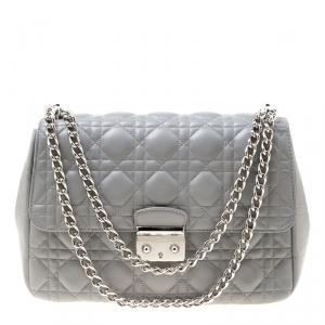 Dior Grey Cannage Leather Miss Dior Shoulder Bag