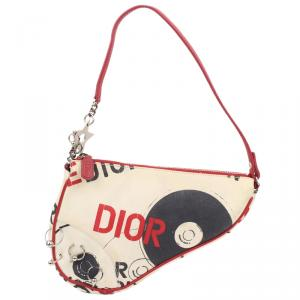 Dior Multicolor Printed Canvas Saddle Bag