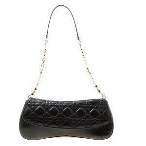 Dior Black Cannage Leather Shoulder Bag