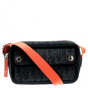 Dior Blue/Orange Diorissimo Canvas Flight Shouder Bag