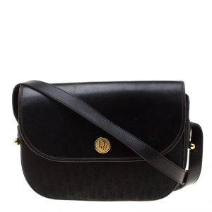 Dior Black Canvas and Leather Vintage Flap Crossbody Bag