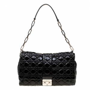 Dior Black Quilted Patent Leather Large New Lock Flap Shoulder Bag