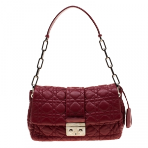 Dior Red Patent Leather Cannage New Lock Flap Bag