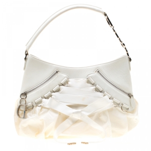 Dior White Leather and Fabric Corset Ballet Shoulder Bag
