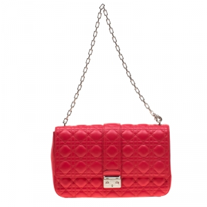 Dior Coral Red Quilted Leather Large Miss Dior Flap Bag