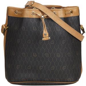 Dior Black Honeycomb Coated Canvas Bucket Bag