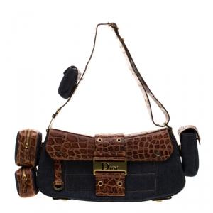 Dior Blue/Brown Denim and Crocodile Street Chic Columbus Avenue Multipocket Shoulder Bag