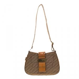 Dior Beige/Tan Diorissimo Canvas and Leather Trim Shoulder Bag
