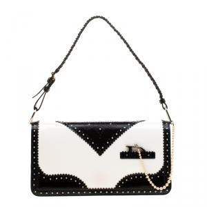 Dior Black/White Patent Leather Brogues Shoulder Bag