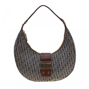 Dior Blue/Brown Diorissimo Canvas and Leather Street Chic Hobo