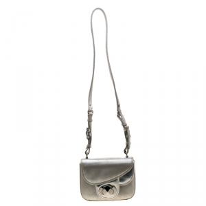 Dior Silver Metallic Leather 3D Asymmetrical Crossbody Bag