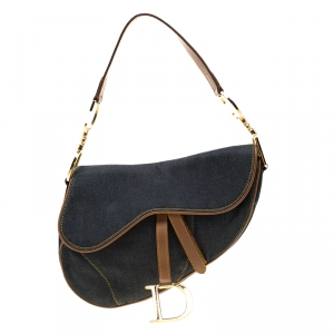 Dior Blue/Brown Denim and Leather Saddle Bag