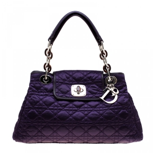 Dior Purple Satin Cannage Quilted Charming Lock Flap Shoulder Bag