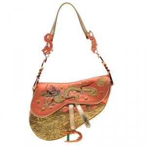 Dior Multicolor Satin and Fabric Limited Edition 44/100 China Dragon Galliano 10 Yr Anniversary Saddle Bag