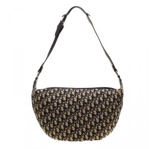 Dior Cream/Blue Diorissimo Canvas and Leather Shoulder Bag