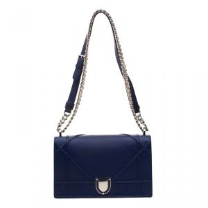 Dior Blue Leather Medium Diorama Shoulder Bag