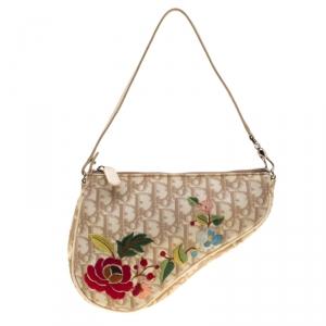 Dior Beige Monogram Canvas Romantique Saddle Bag