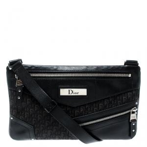 Dior Black Oblique Canvas and Leather Crossbody Bag