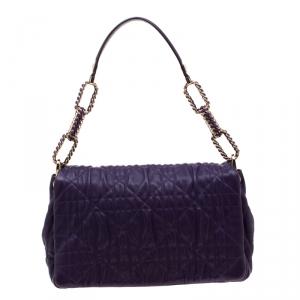 Dior Purple Cannage Leather Delidior Flap Shoulder Bag