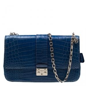 Dior Blue Crocodile Leather Large Miss Dior Flap Bag