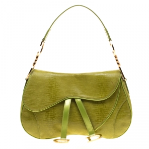 Dior Green Suede and Patent Leather Lizard Effect Double Saddle Bag