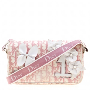 Dior Pink/White Oblique Canvas Girly 1 Flap Shoulder Bag