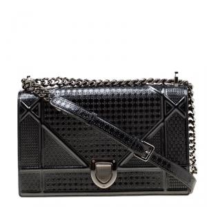 Dior Metallic Black Patent Leather Medium Diorama Shoulder Bag