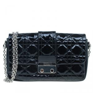 Dior Black Cannage Quilted Patent Leather Chain Clutch Bag