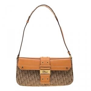 Dior Beige/Tan Oblique Canvas and Leather Street Chic Shoulder Bag