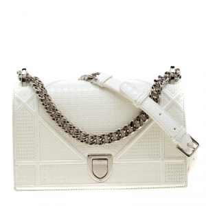 Dior White Patent Leather Small Diorama Shoulder Bag