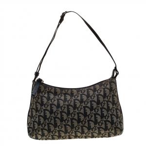 Dior Blue Oblique Canvas Baguette Bag