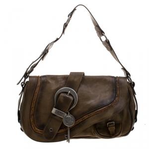 Dior Khaki Leather Gaucho Large Double Saddle Shoulder Bag