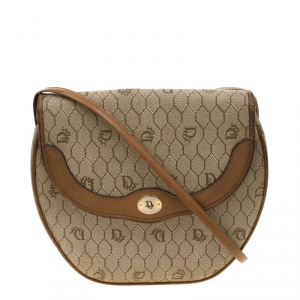 Dior Beige/Brown Honeycomb Coated Canvas Crossbody Bag