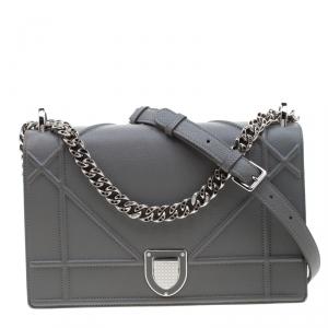 Dior Grey Leather Medium Diorama Flap Shoulder Bag