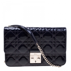 Dior Midnight Blue Cannage Patent Leather Miss Dior Promenade Pouch