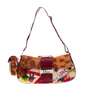 Dior Multicolor Canvas and Leather Limited Edition Victim Street Chic Shoulder Bag