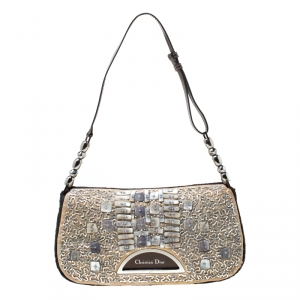 Dior Beige/Brown Calfhair and Bead Embellished Limited Edition 256/880 Malice Shoulder Bag