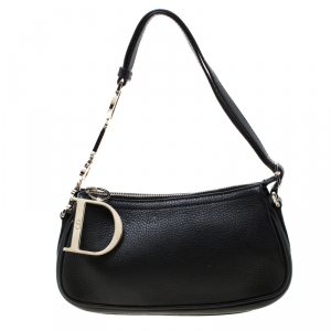 Dior Black Leather D Charms Pochette