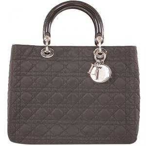 Dior Black Quilted Nylon Lady Dior Bag
